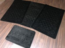 ROMANY WASHABLES NEW GYPSY SETS OF 4 BLACK MATS NON SLIP TOURER SIZES BARGAIN